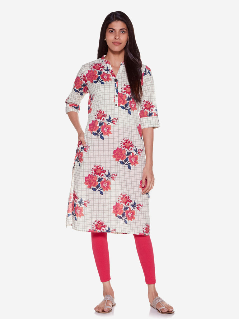 Utsa Off White Pure Cotton Floral Straight Kurta