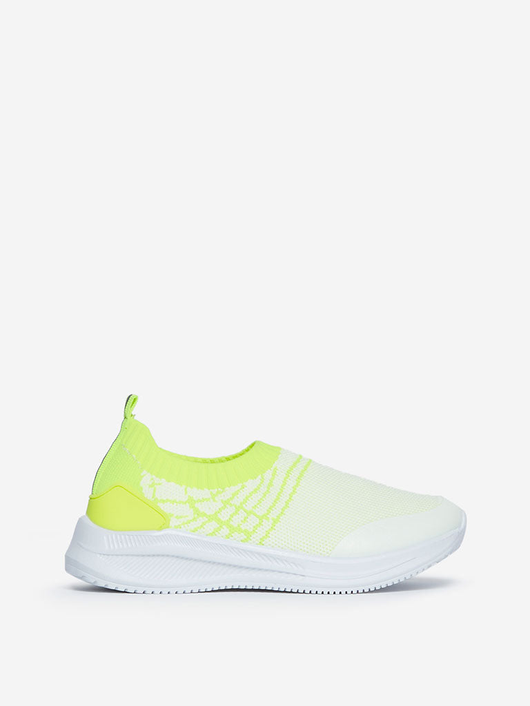 Yellow Kids White Knit Slip-On Sneakers