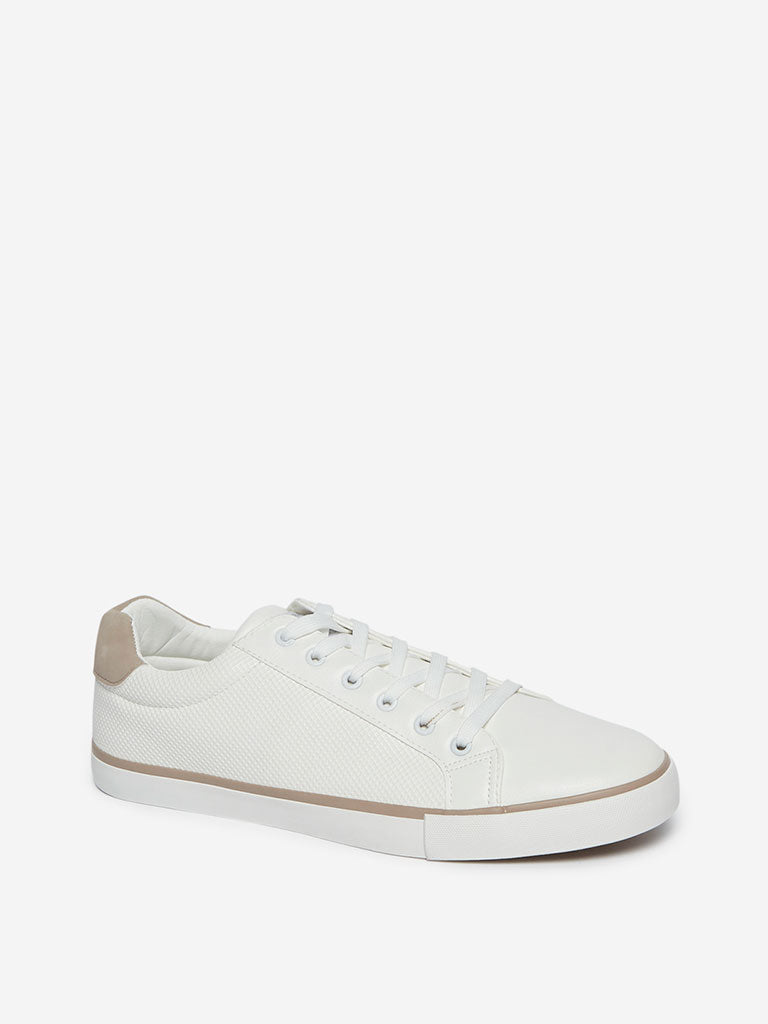 SOLEPLAY White Textured Sneakers