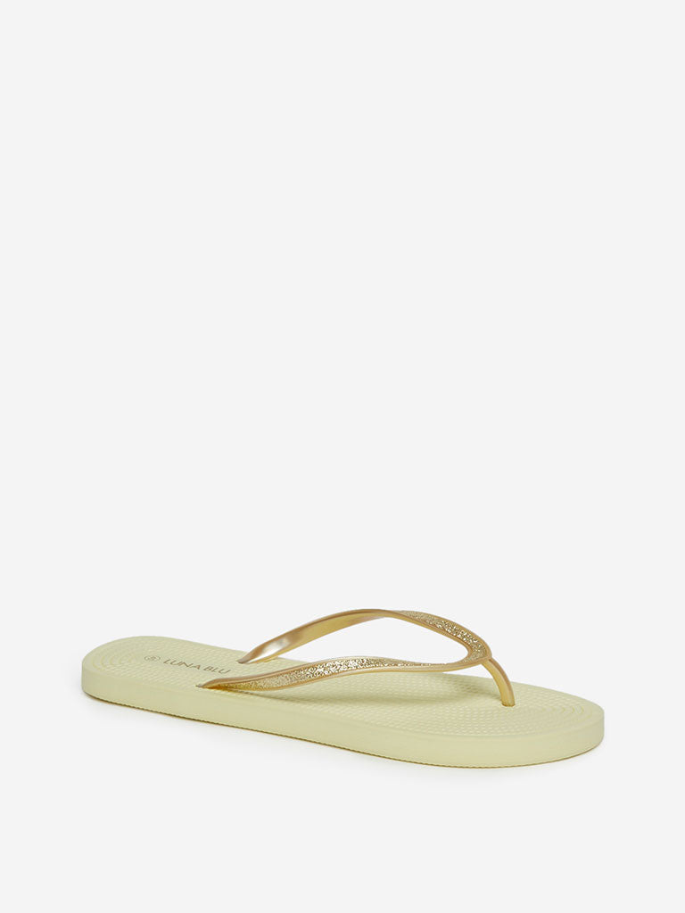 LUNA BLU Yellow Rope Textured Flip-Flops