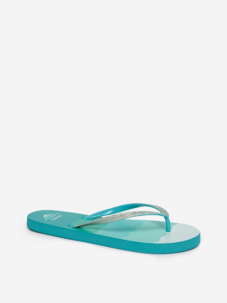 LUNA BLU Blue Scalloped Print Flip-Flops