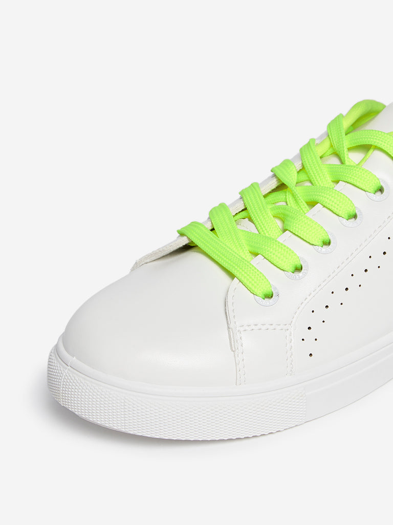 LUNA BLU White Faux-Leather Sneakers