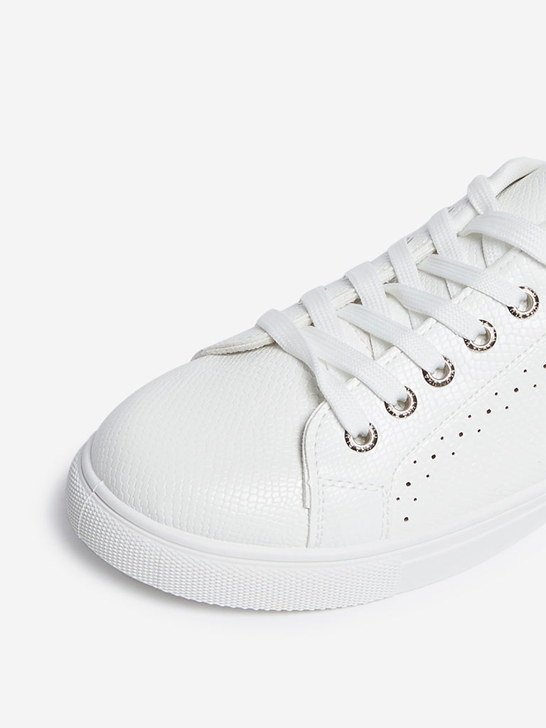 LUNA BLU White Snake-Textured Sneakers