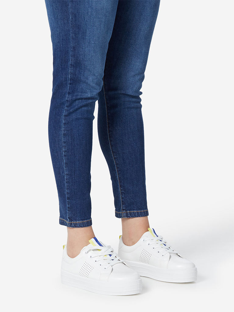 LUNA BLU White Striped Sneakers