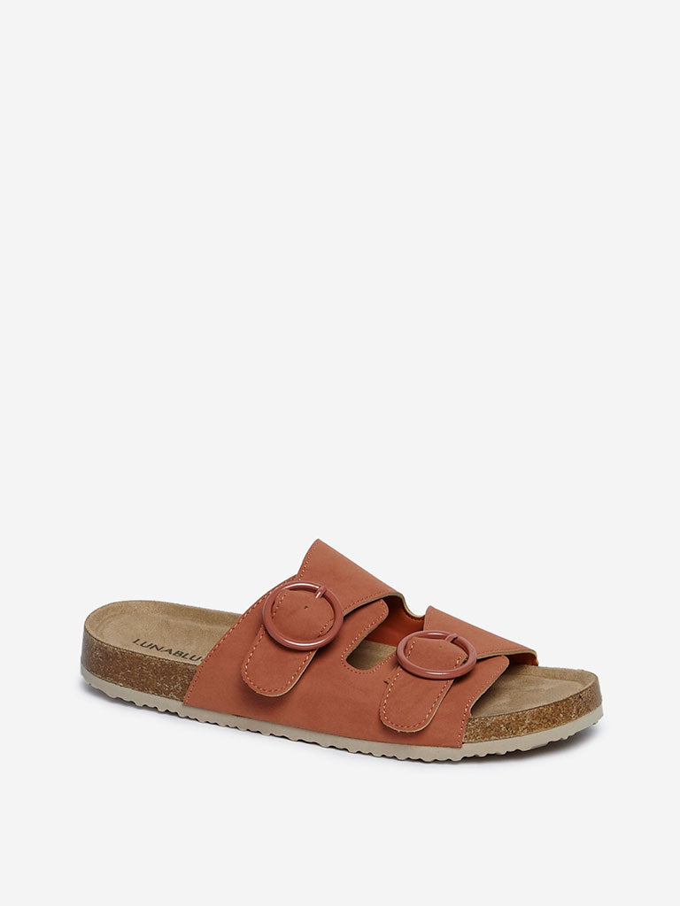 LUNA BLU Tan Buckle-Detailed Platform Slides