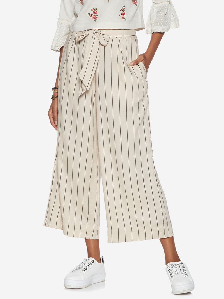 Bombay Paisley Off White Striped Belted Palazzos