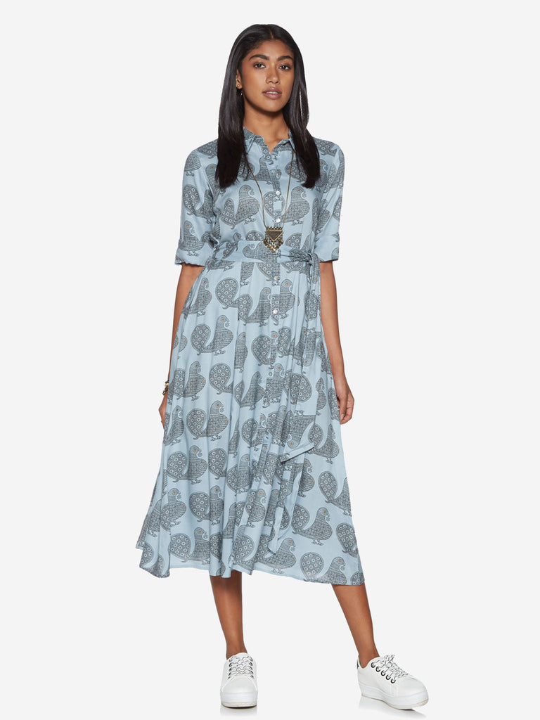 Bombay Paisley Blue Bird Print Belted Shirtdress