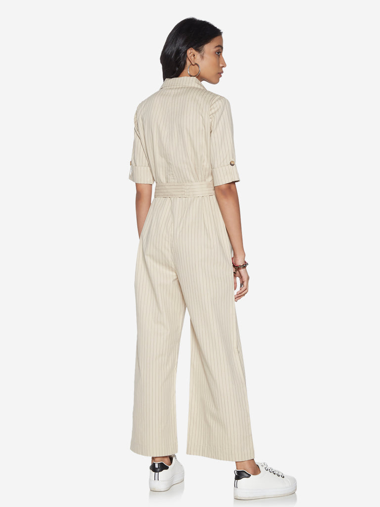 Bombay Paisley Off-White Jumpsuit With Belt
