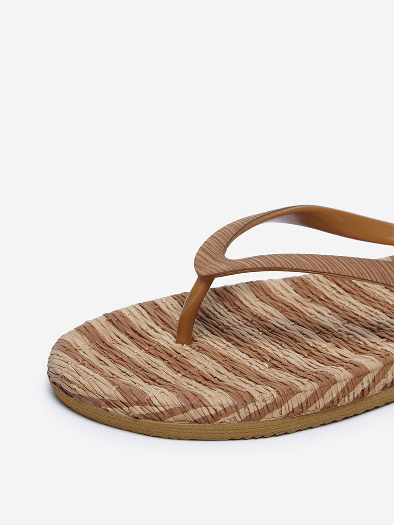 LUNA BLU Brown Striped Flip-Flops