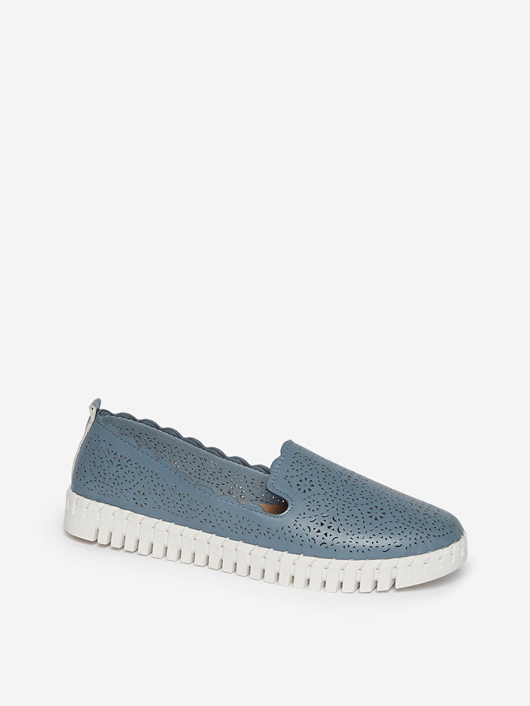 LUNA BLU Blue Laser-Cut Faux-Leather Loafers