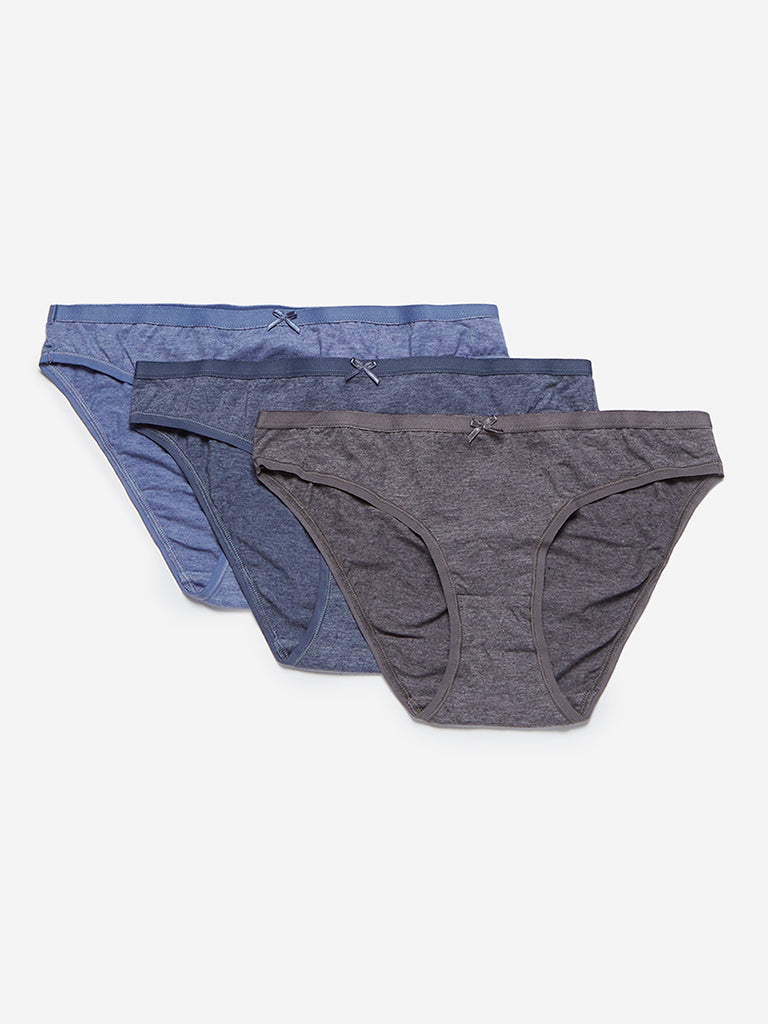 Wunderlove Blue Bikini Briefs Pack of Three