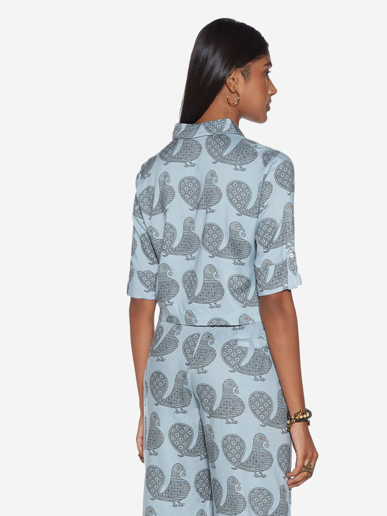 Bombay Paisley Sky Blue Peacock Print Crop-Top