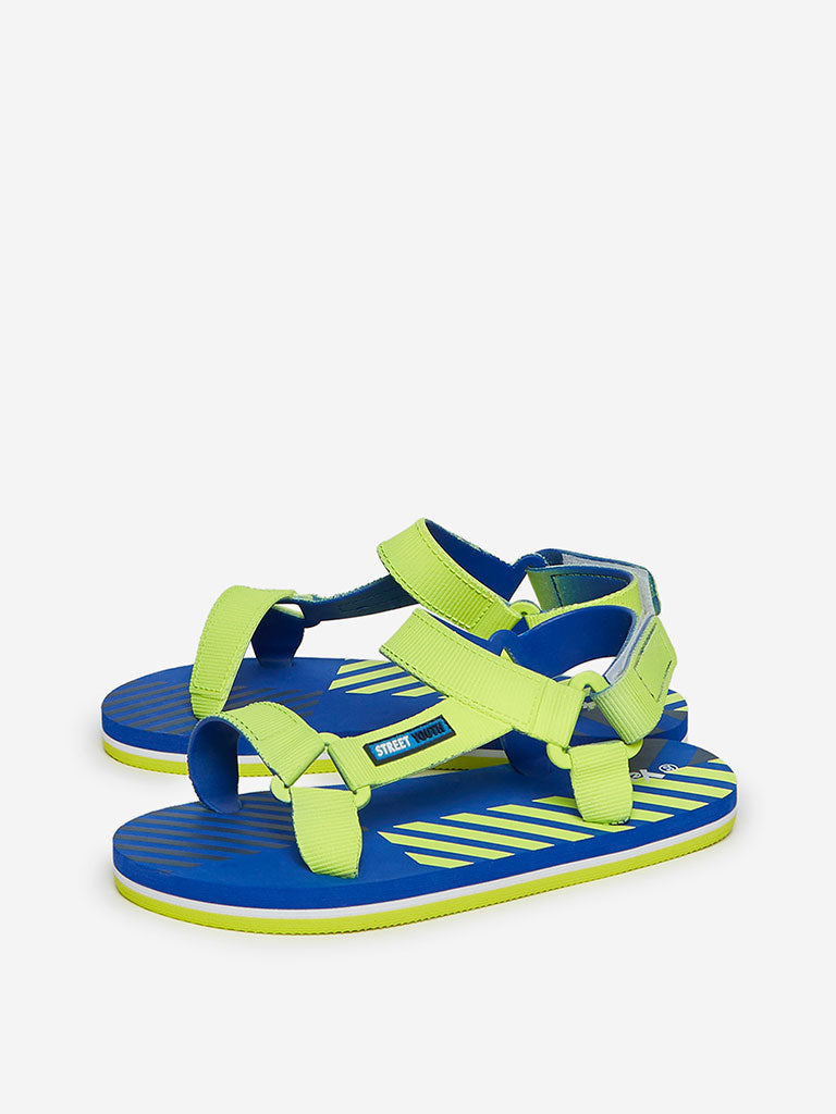 Yellow Kids Blue And Neon Green Striped Sandals