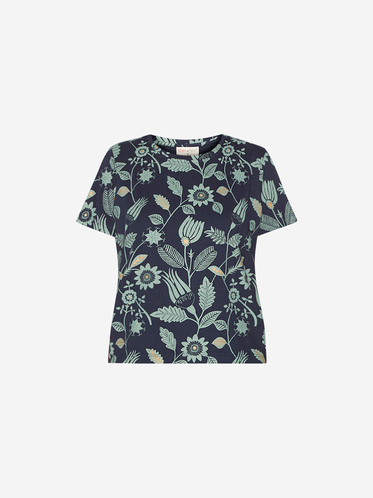 Bombay Paisley Navy Tropical Print Top