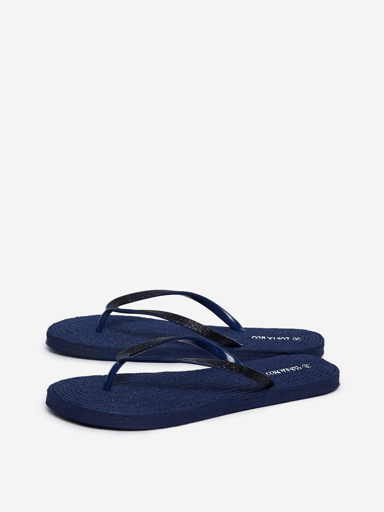 LUNA BLU Navy Rope Textured Pool Flip-Flops