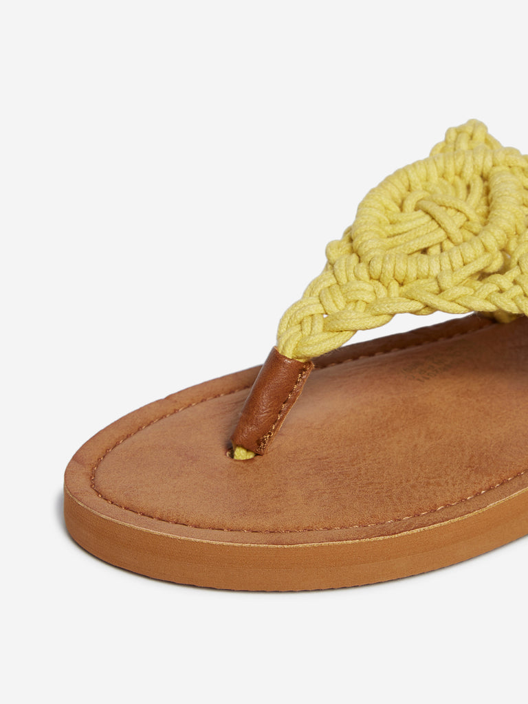 LUNA BLU Yellow Crochet Detailed Flip-Flops