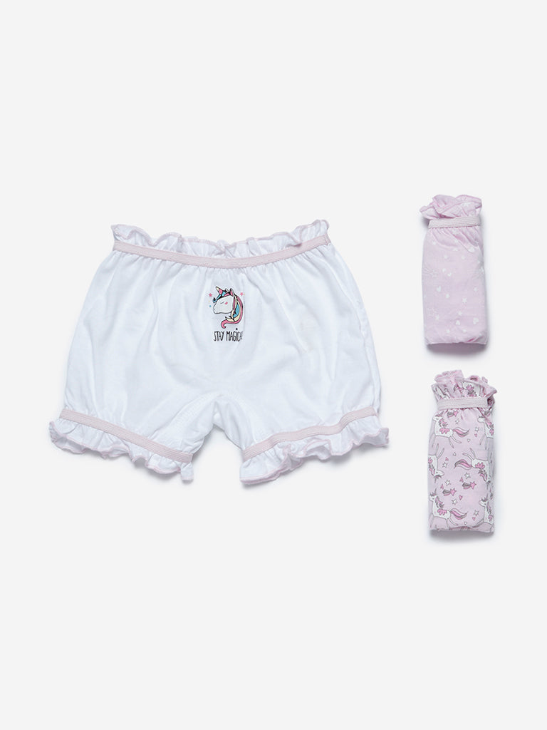 HOP Kids Pink Printed Bloomers Set Of Three