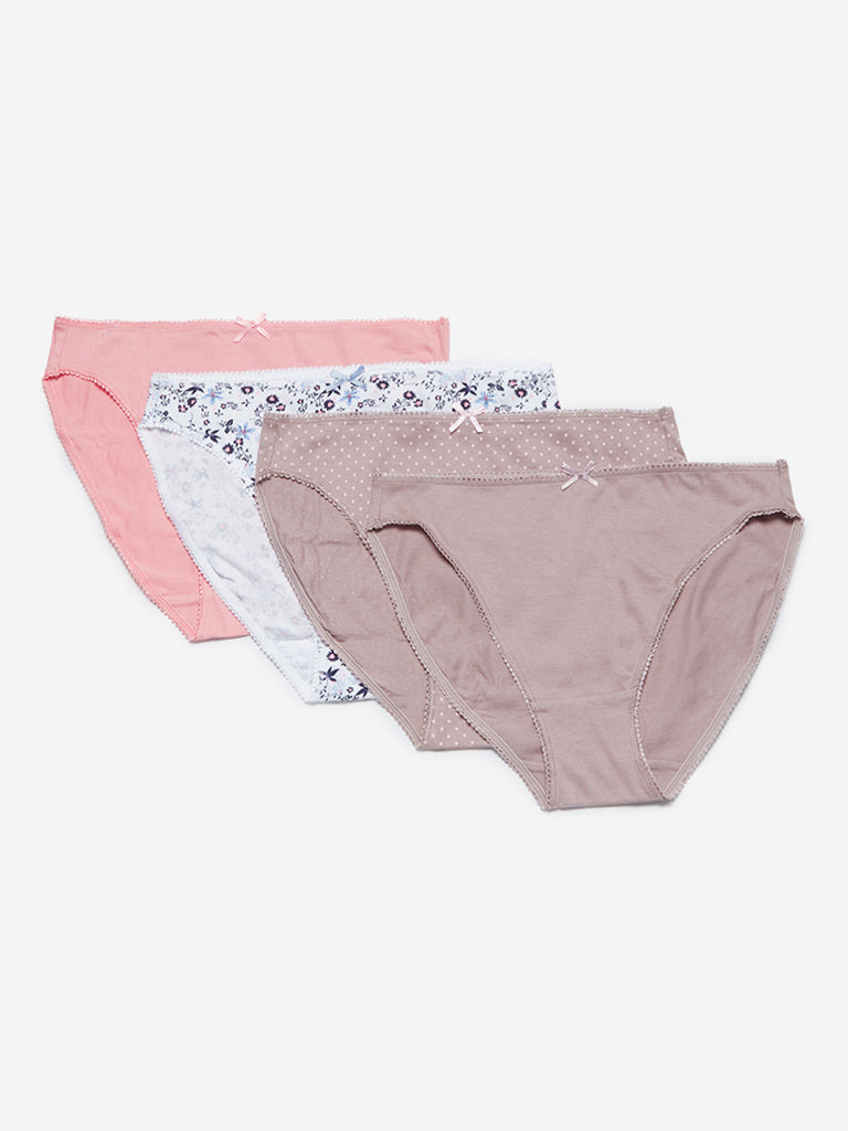 Wunderlove Taupe Hi-Leg Briefs Pack Of Four