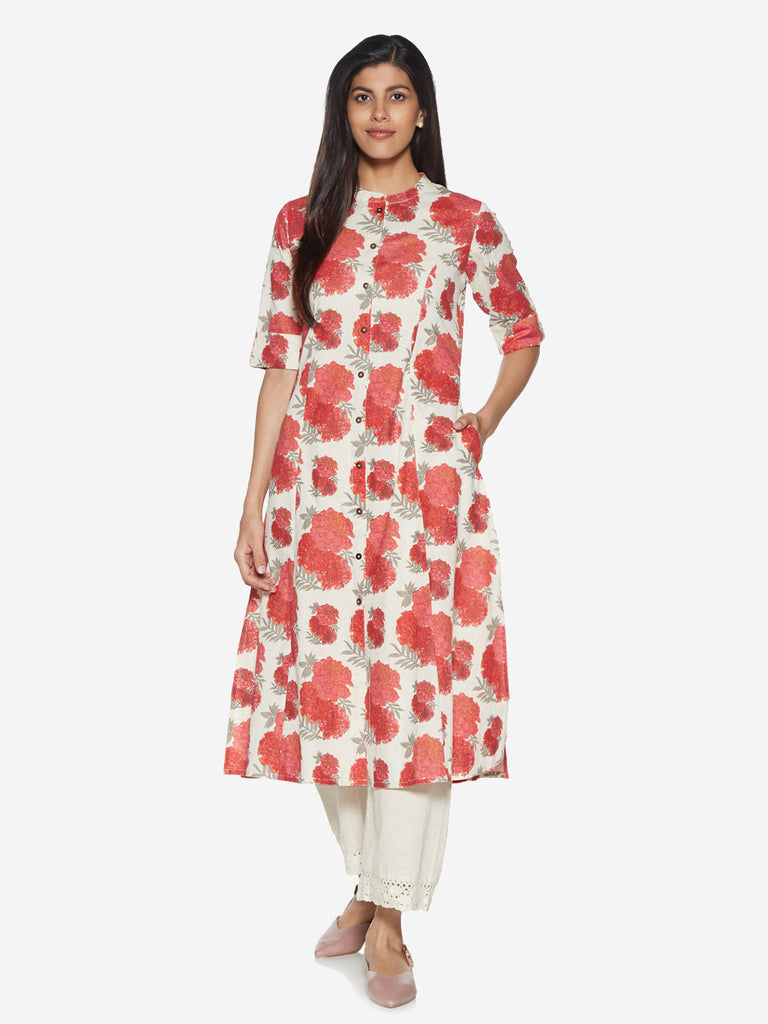 Utsa Red Floral Patterned A-line Kurta