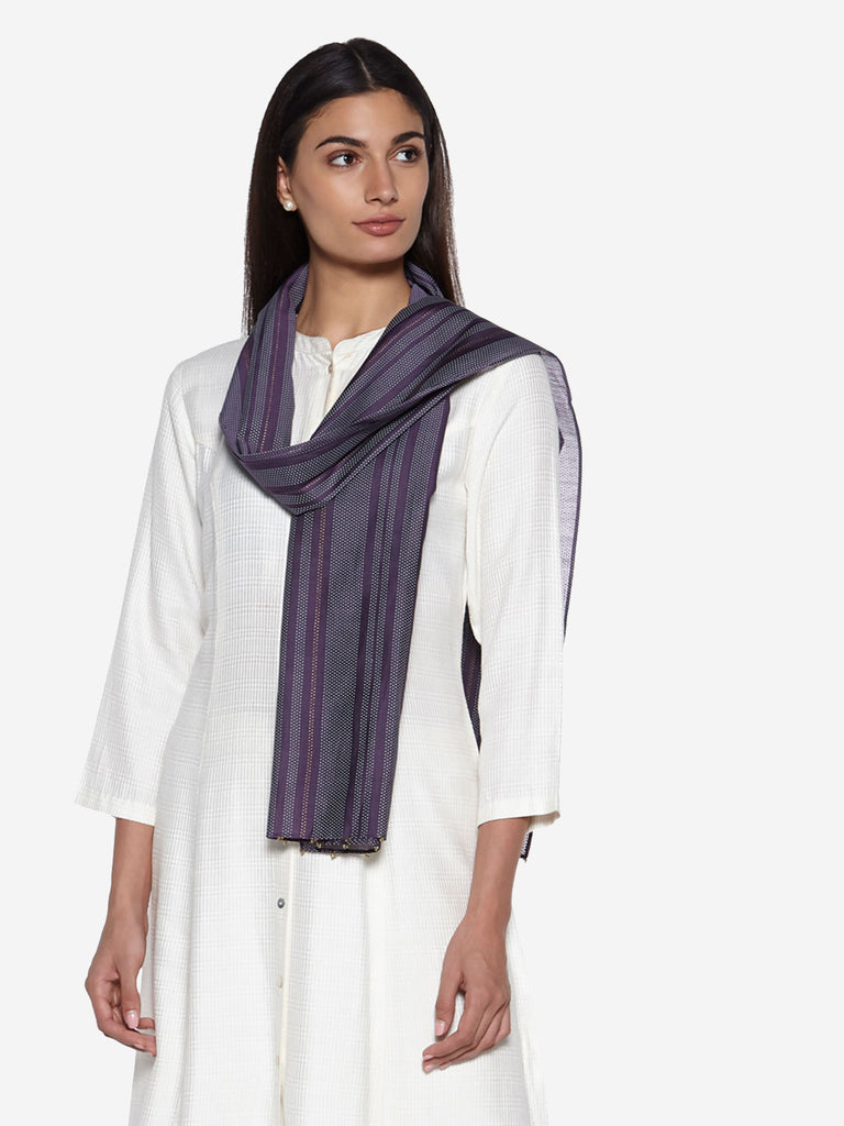 Zuba Purple Striped Cotton-Silk Stole