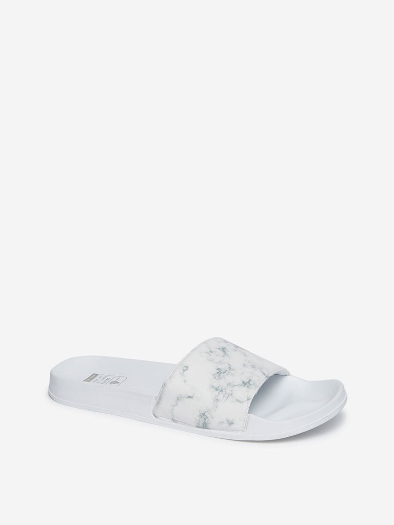 SOLEPLAY White Marble Print Slides