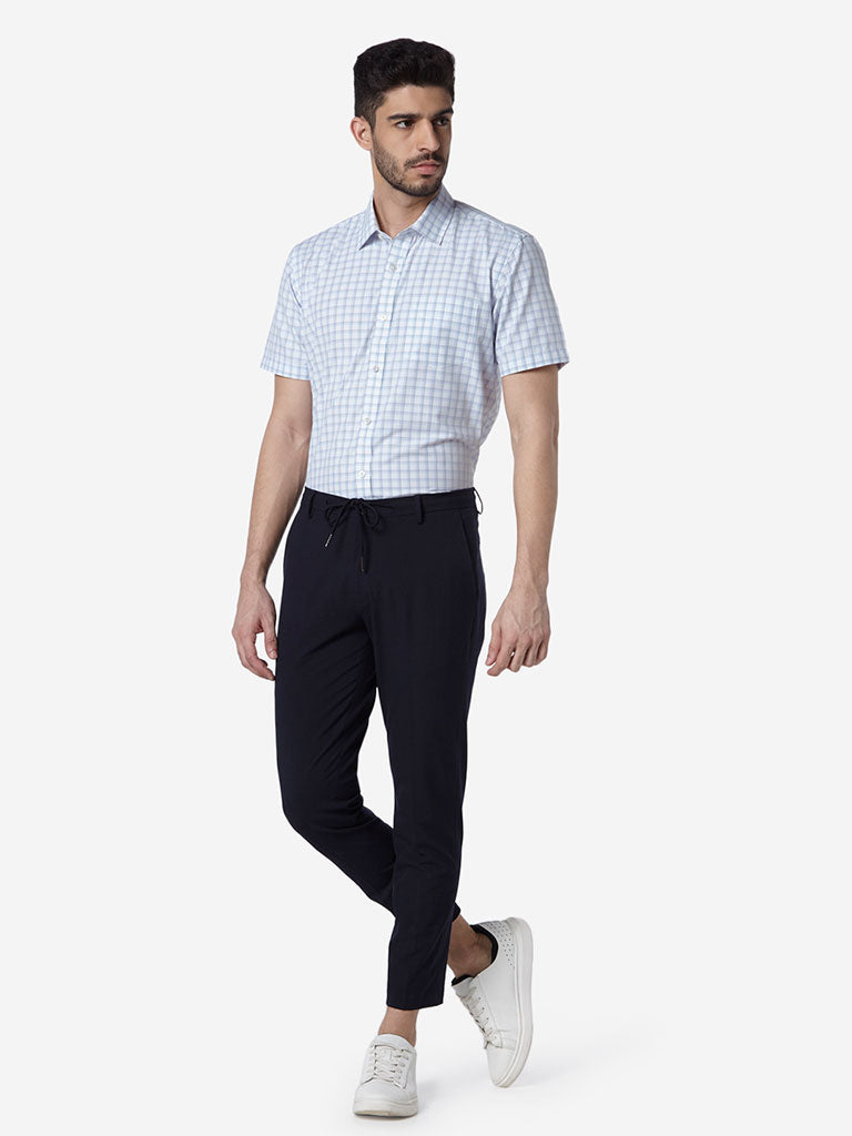 WES Formals White Checkered Relaxed Fit Shirt