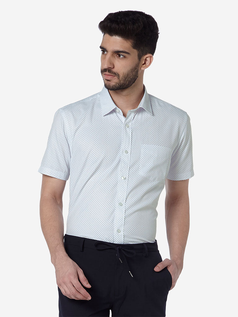 WES Formals White Printed Relaxed Fit Shirt