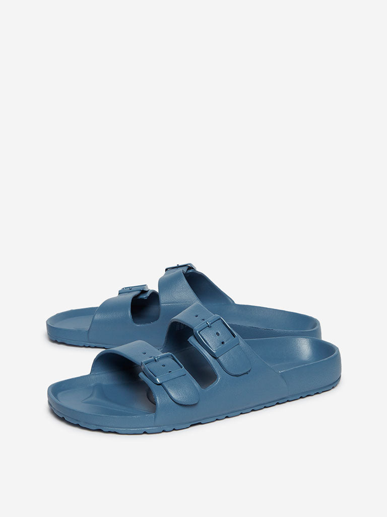 SOLEPLAY Blue Double Buckle Slides