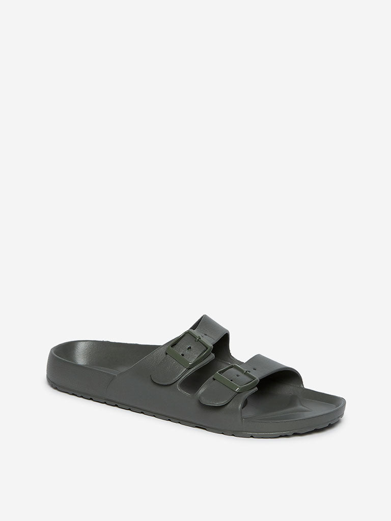 SOLEPLAY Grey Double Buckle Slides