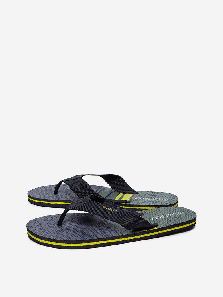 SOLEPLAY Olive Striped Flip-Flops