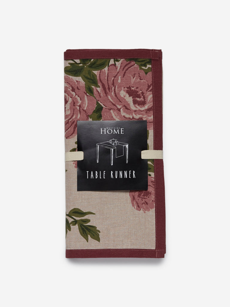 Westside Home Soft-Pink Floral Print Pure-Cotton Table Runner