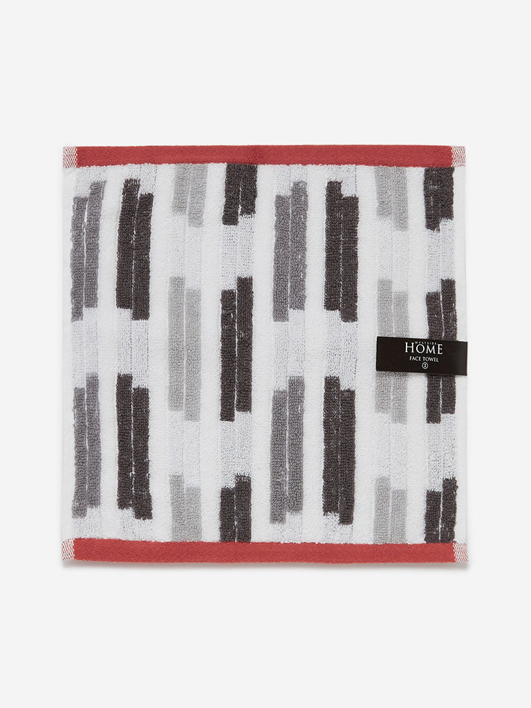 Westside Home Grey Striped 500 GSM Face Towels Set Of Two