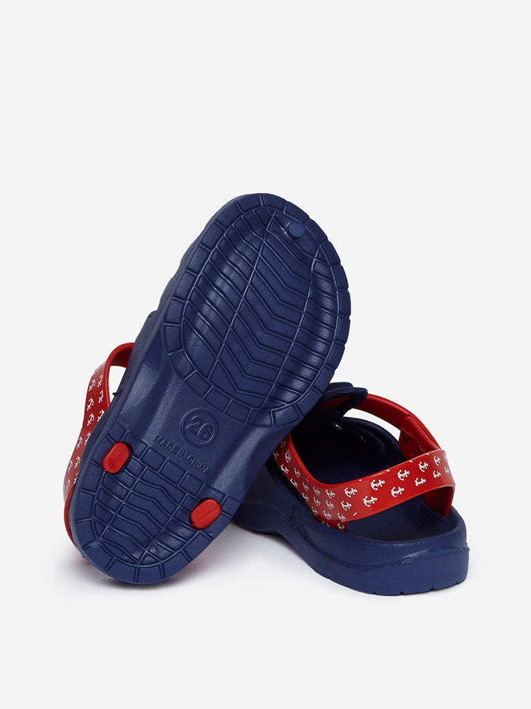 Yellow Kids Navy Criss-Cross Detailed Clogs