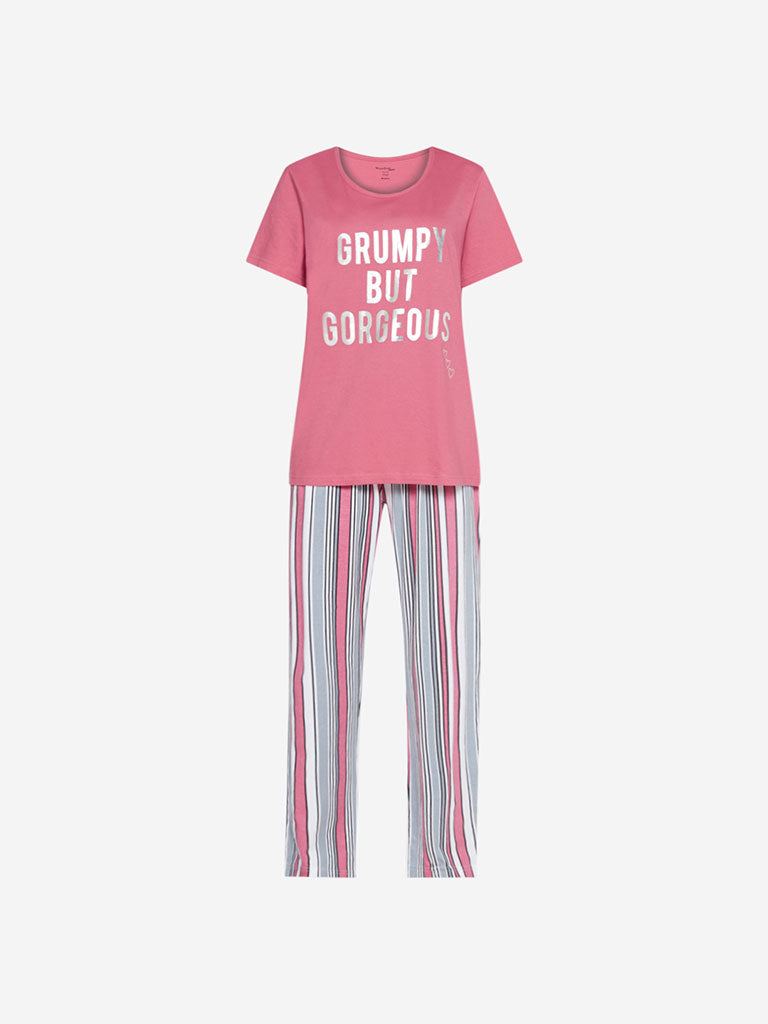 Wunderlove Pink Printed T-Shirt And Pyjamas Set