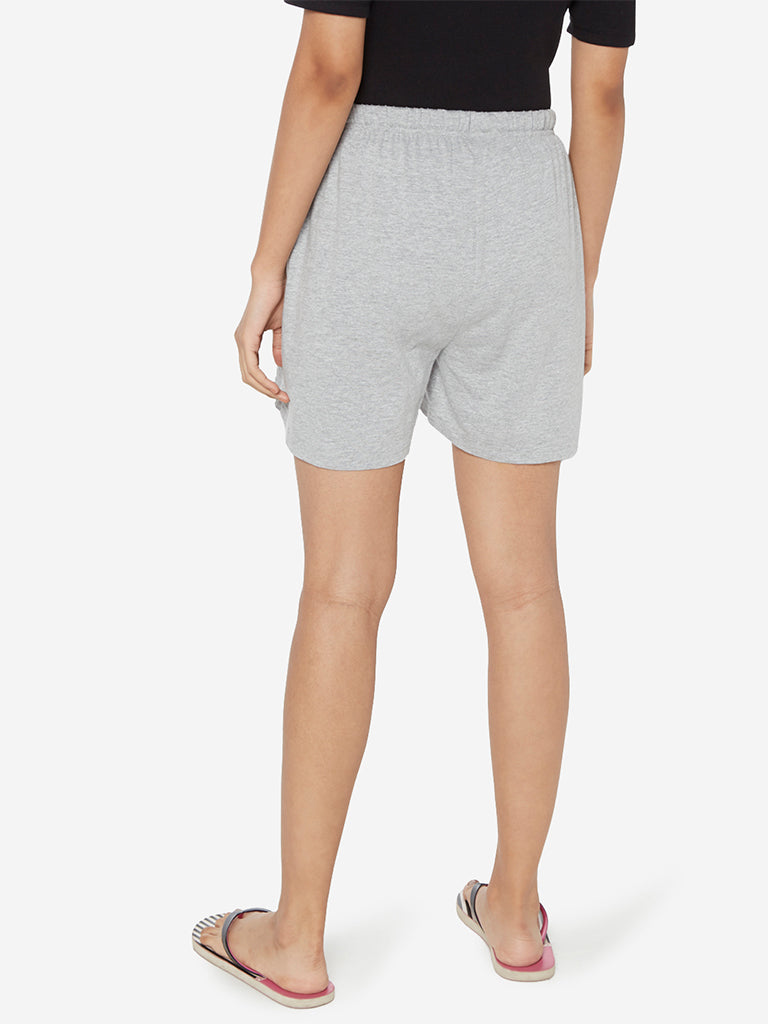 Wunderlove Grey Melange Text Print Shorts
