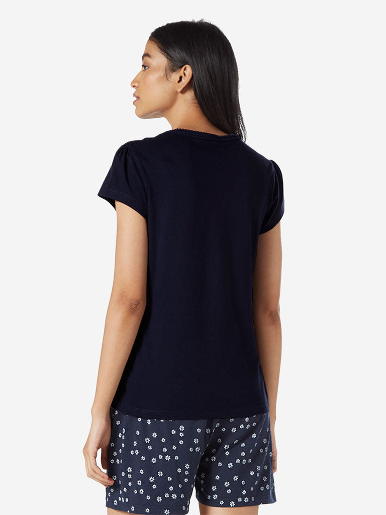 Wunderlove Navy Pure-Cotton T-Shirt