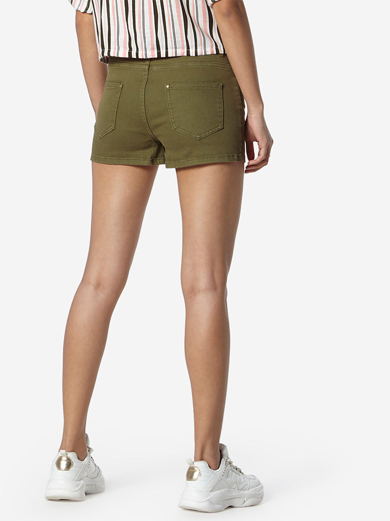 Nuon Olive Denim Shorts