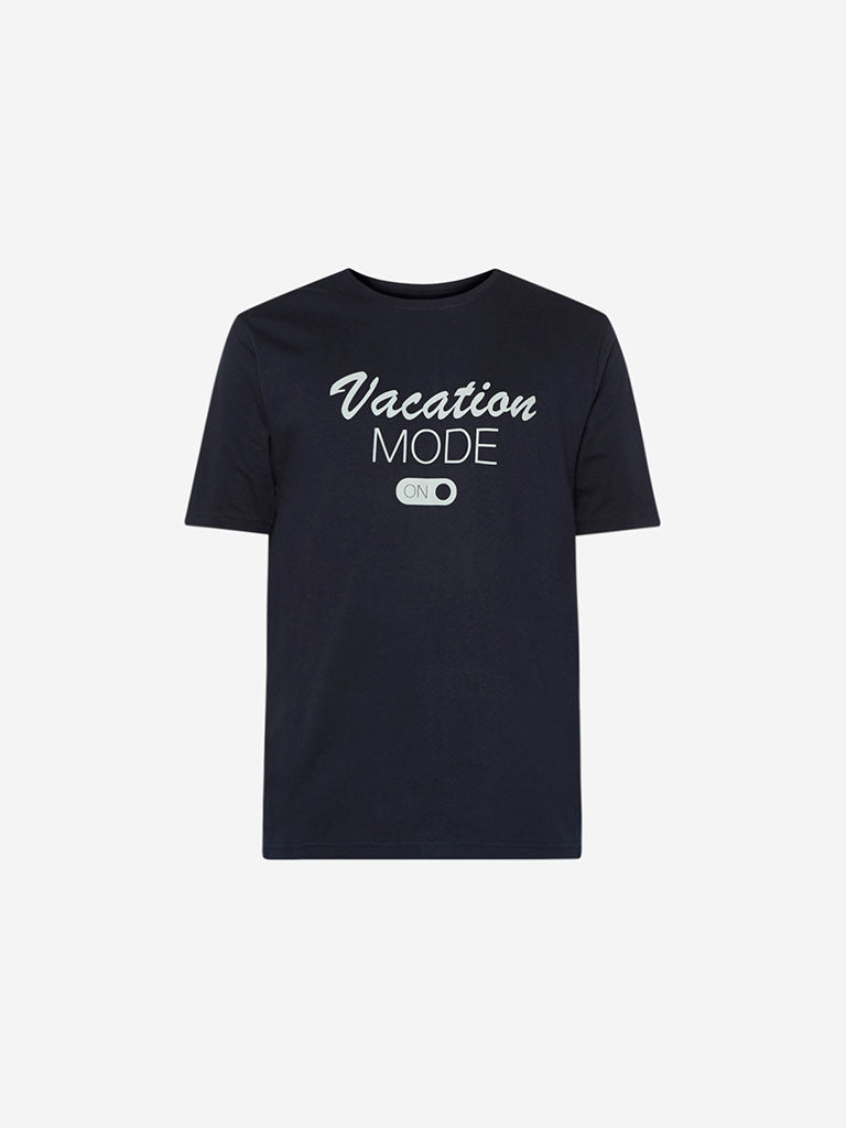 WES Lounge Navy Text Relaxed Fit T-Shirt