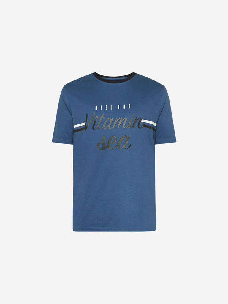 WES Lounge Blue Text Print Relaxed Fit T-Shirt