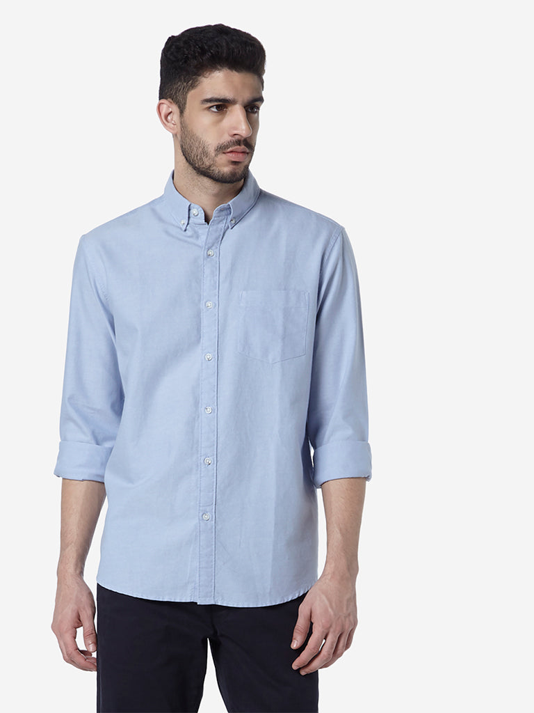 WES Casuals Light Blue Relaxed Fit Shirt