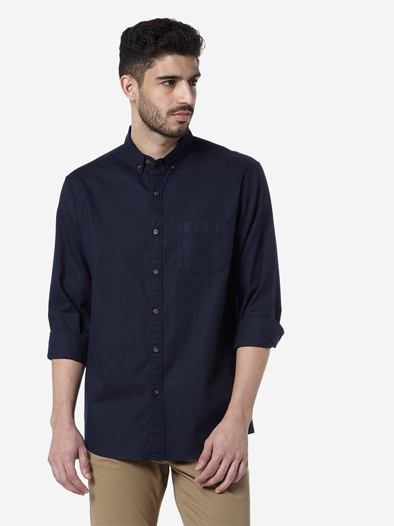 WES Casuals Navy Relaxed Fit Shirt