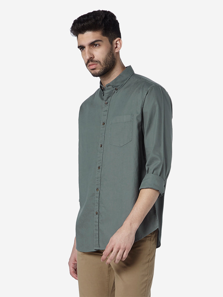WES Casuals Light Olive Relaxed Fit Shirt