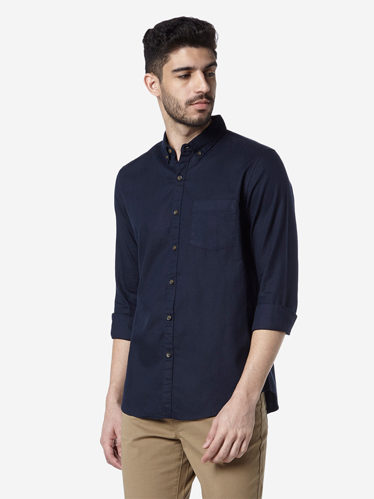 WES Casuals Navy Slim Fit Shirt