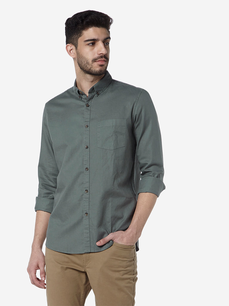 WES Casuals Light Olive Slim Fit Shirt