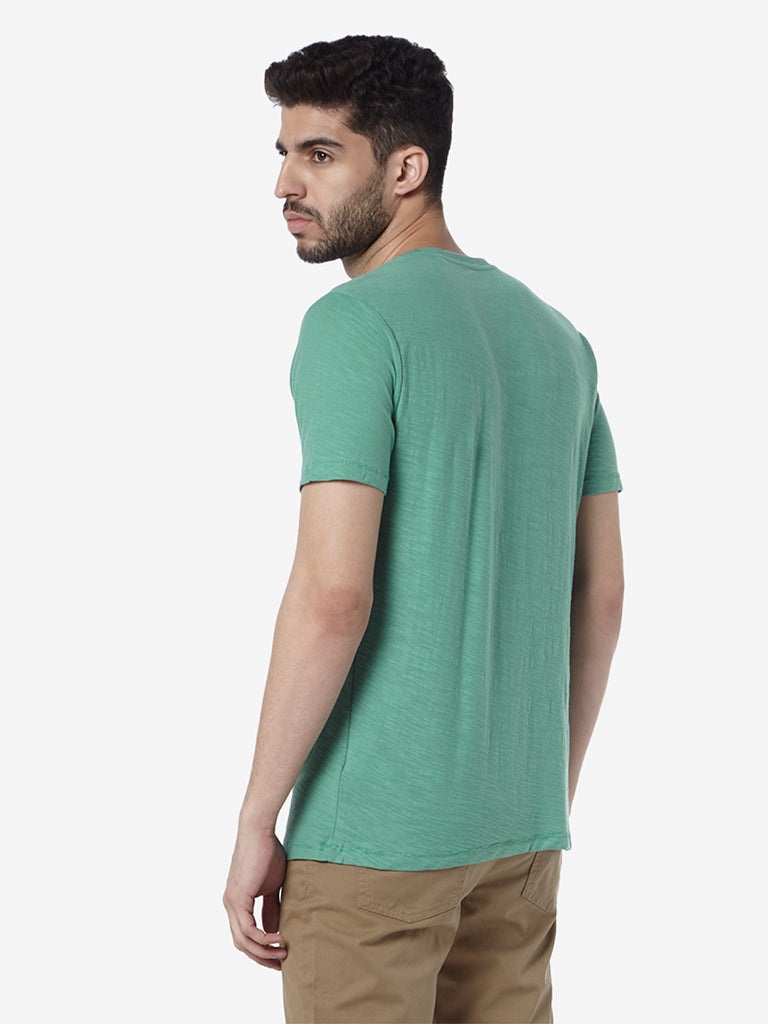 WES Casuals Green Slim-Fit Crewneck T-Shirt