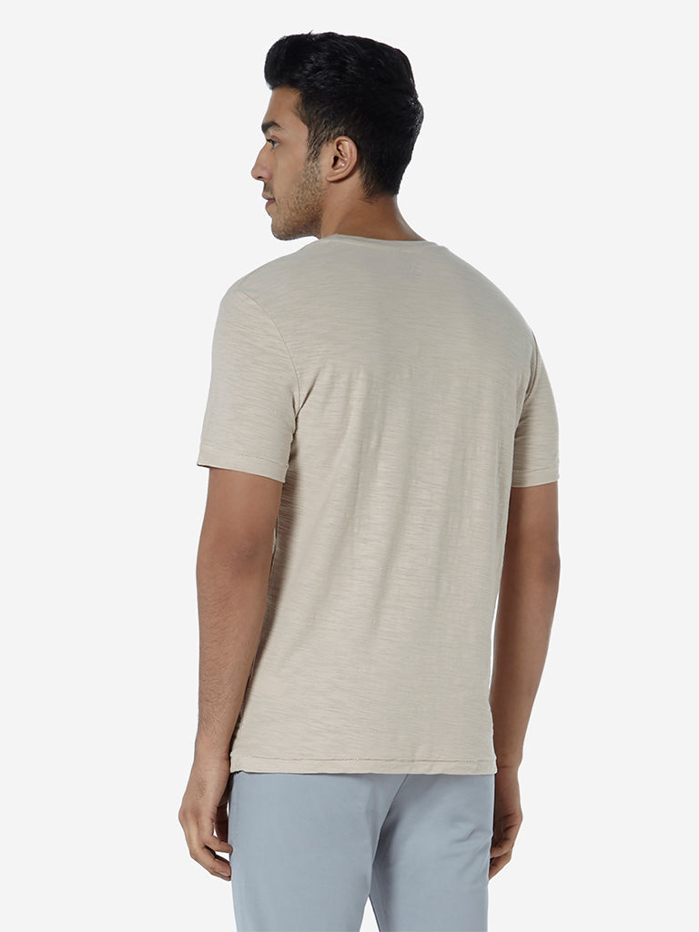 WES Casuals Beige Slim Fit Pure Cotton T-Shirt
