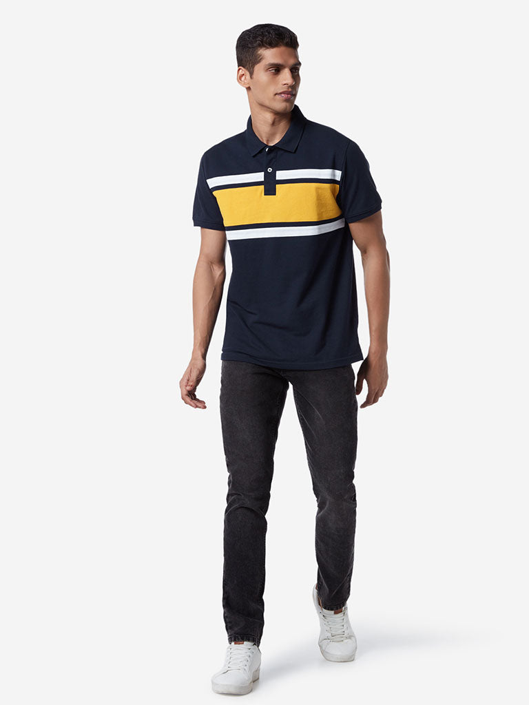 WES Casuals Navy Striped Slim Fit Polo T-Shirt