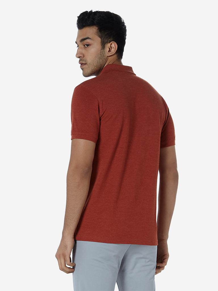 WES Casuals Rust Melange Slim Fit Polo T-Shirt