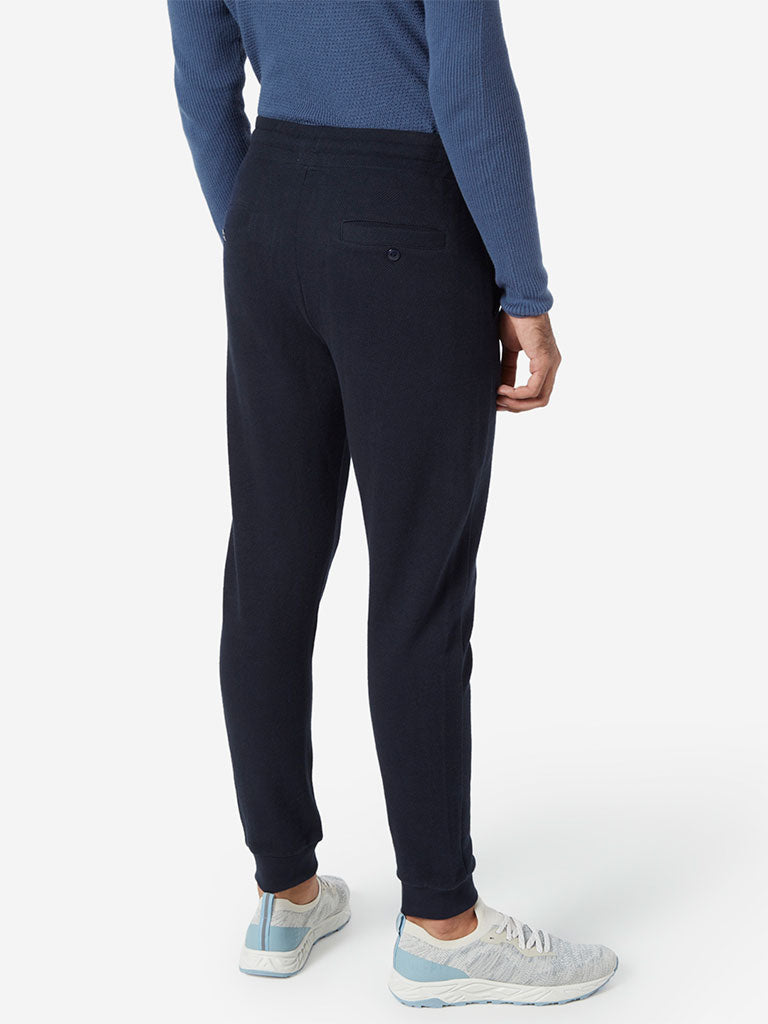 ETA Navy Self-Textured Slim Fit Joggers