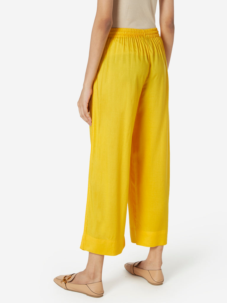 Utsa Yellow Cropped Palazzos
